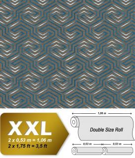 Grafik Tapete EDEM 84114BR92 Vliestapete leicht strukturiert mit Ornamenten und metallischen Akzenten braun quarz-grau perl-enzian silber 10, 65 m2