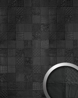 Wandpaneel 3D Leder WallFace 15031 COLLAGE Blickfang Dekor selbstklebende Tapete Wandverkleidung schwarz 2, 60 qm