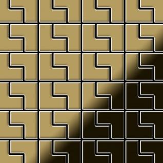Mosaik Fliese massiv Metall Titan hochglänzend in gold 1, 6mm stark ALLOY Kink-Ti-GM Designed by Karim Rashid 0, 93 m2