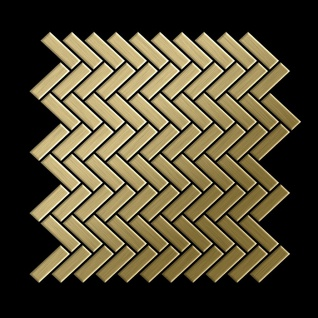 Mosaik Fliese massiv Metall Titan gebürstet in gold 1, 6mm stark ALLOY Herringbone-Ti-GB 0, 85 m2 - Vorschau 3