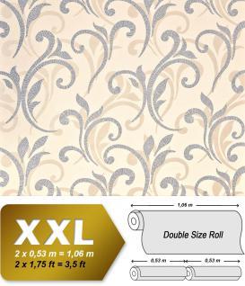Blumen Tapete XXL Vliestapete EDEM 928-29 Abstraktes florales Muster Design Blumentapete silber creme beige 10, 65 m2