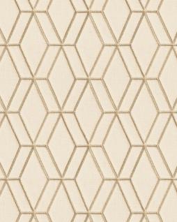 Grafik Tapete Profhome DE120063-DI heißgeprägte Vliestapete geprägt mit geometrischen Formen glänzend beige gold 5, 33 m2