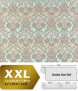 Vliestapete Barock-Tapete XXL EDEM 966-25 Muster Ornament klassisch taupe türkis beige 10, 65 qm