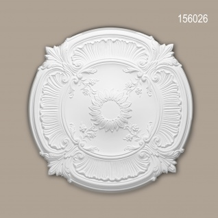 Rosette PROFHOME 156026 Zierelement Deckenelement Neo-Renaissance-Stil weiß Ø 77, 0 cm