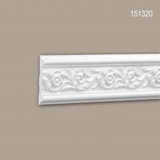 Wand- und Friesleiste PROFHOME 151320 Stuckleiste Zierleiste Wandleiste Rokoko Barock Stil weiß 2 m