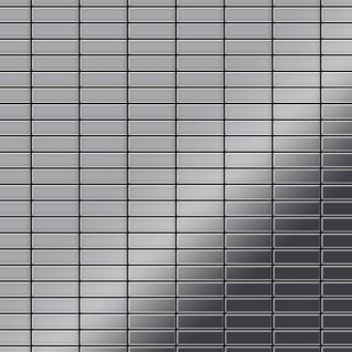 Mosaik Fliese massiv Metall Edelstahl hochglänzend in grau 1, 6mm stark ALLOY Cabin-S-S-M 1, 01 m2