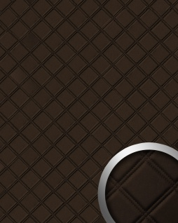 Wandpaneel Karo Leder 3D Luxus WallFace 15037 ROMBO Blickfang Dekor selbstklebend Tapete Wandverkleidung braun | 2, 60 qm