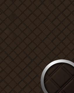 Wandpaneel Karo Leder 3D WallFace 15037 ROMBO Blickfang Dekor selbstklebend Tapete Wandverkleidung braun 2, 60 qm