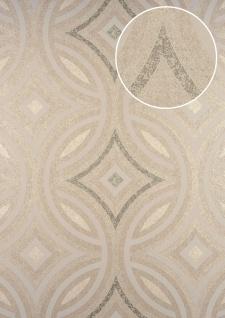Grafik Tapete ATLAS HER-5135-4 Vliestapete geprägt im Kaleidoskop-Stil schimmernd creme perl-beige perl-weiß 7, 035 m2 - Vorschau 1