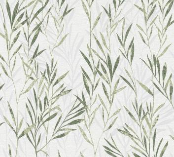 Blumen Tapete Profhome 367123-GU Vliestapete leicht strukturiert mit Natur-Mustern matt grün weiß 5, 33 m2