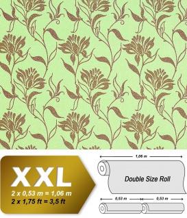 Blumen Tapete Vliestapete EDEM 939-38 Heißgeprägete Designer Blumentapete florales Muster grün bronze-braun 10, 65 qm
