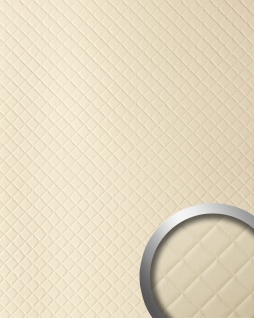 Wandpaneel Leder Design Karo Muster WallFace 13863 ROMBO Wandplatte Wandverkleidung selbstklebend creme | 2, 60 qm