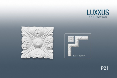 Eckelement Stuck Orac Decor P21 LUXXUS Eckplatte Quadrat Zierelement Gesims Decken Wand Leiste Blätter Dekor | 6 x 6 cm