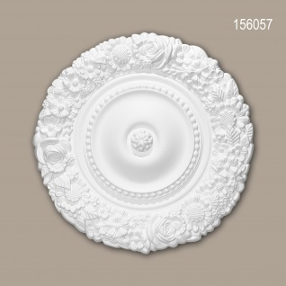 Rosette PROFHOME 156057 Zierelement Deckenelement Rokoko Barock Stil weiß Ø 54, 5 cm