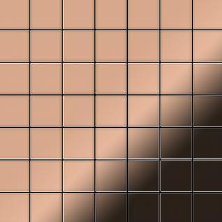 Mosaik Fliese massiv Metall Kupfer gewalzt in kupfer 1, 6mm stark ALLOY Attica-CM 0, 85 m2