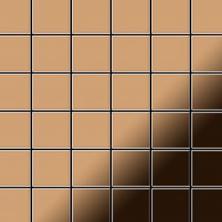 Mosaik Fliese massiv Metall Titan hochglänzend in kupfer 1, 6mm stark ALLOY Cinquanta-Ti-AM 0, 94 m2