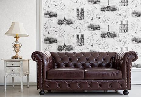 Romantische Tapete EDEM 9050-10 Vliestapete geprägt im Shabby Chic Stil Paris Eiffelturm Notre Dame schimmernd weiß grau anthrazit 10, 65 m2 - Vorschau 5