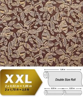 Blumen Tapete XXL Vliestapete EDEM 923-36 Elegantes florales Design Muster Metallic Effekt braun rotbraun gold metallic 10, 65 m2