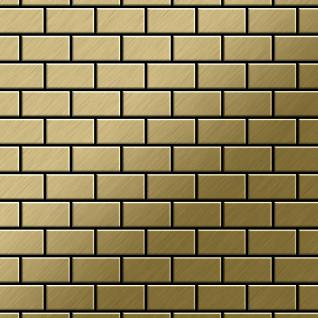 Mosaik Fliese massiv Metall Titan gebürstet in gold 1, 6mm stark ALLOY House-Ti-GB 0, 98 m2
