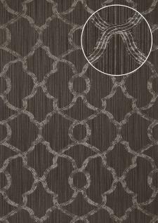 Exklusive Luxus Tapete Atlas PRI-557-3 Vliestapete strukturiert mit Ornamenten schimmernd grau silber umbra-grau 5, 33 m2
