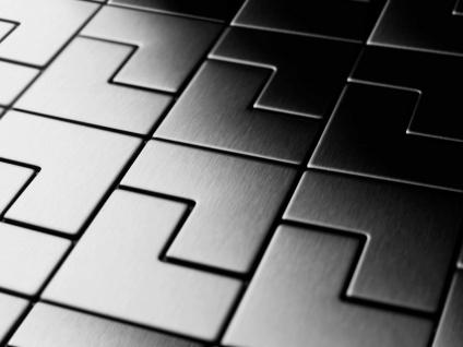 Mosaik Fliese massiv Metall Edelstahl gebürstet in grau 1, 6mm stark ALLOY Kink-S-S-B Designed by Karim Rashid 0, 93 m2 - Vorschau 4