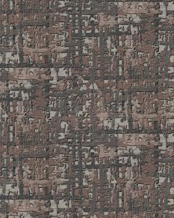 Textiloptik Tapete Profhome DE120097-DI heißgeprägte Vliestapete geprägt mit abstraktem Muster schimmernd anthrazit beige-grau braun 5, 33 m2