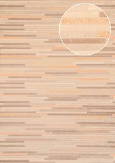 Stein-Kacheln Tapete Atlas ICO-5076-4 Vliestapete glatt in Steinoptik schimmernd grau blass-braun weiß bronze 7, 035 m2