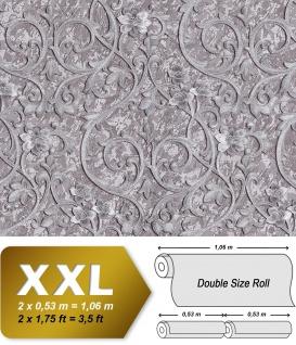 Barock Tapete EDEM 9016-35 Vliestapete geprägt mit floralen Ornamenten und metallischen Akzenten silber grau 10, 65 m2