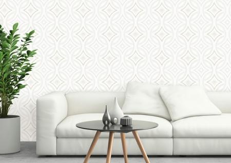 Grafik Tapete ATLAS HER-5135-1 Vliestapete geprägt im Kaleidoskop-Stil schimmernd creme perl-weiß perl-gold 7, 035 m2 - Vorschau 4
