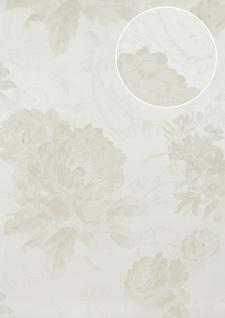 Blumen Tapete Atlas TEM-5109-1 Vliestapete strukturiert mit Paisley Muster schimmernd creme perl-weiß hell-elfenbein grau-beige 7, 035 m2