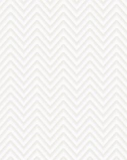 Streifen Tapete Profhome BA220091-DI heißgeprägte Vliestapete geprägt mit Chevron Muster und metallischen Akzenten weiß silber 5, 33 m2