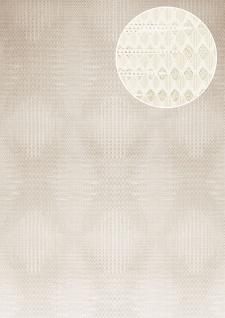 Grafik Tapete Atlas ICO-5074-3 Vliestapete glatt mit geometrischen Formen und metallischen Akzenten creme grau-weiß silber 7, 035 m2