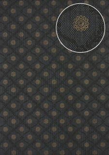 Barock Tapete Atlas PRI-550-5 Vliestapete glatt mit Ornamenten schimmernd anthrazit umbra-grau perl-gold dunkel-grau 5, 33 m2