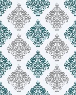 Barock Tapete EDEM 85024BR25 Vinyltapete glatt mit Ornamenten und metallischen Akzenten weiß türkis perl-enzian silber 5, 33 m2