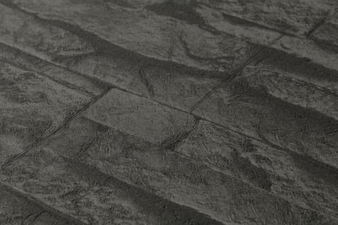 Stein Kacheln Tapete Profhome 707123-GU Vliestapete leicht strukturiert in Steinoptik matt grau schwarz 5, 33 m2 - Vorschau 3