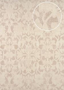 Barock Tapete ATLAS CLA-600-6 Vliestapete geprägt mit Ornamenten glänzend grau perl-weiß perl-gold 5, 33 m2