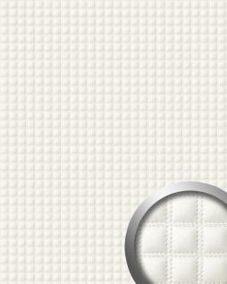 Wandpaneel Quadrat Leder Luxus 3D WallFace 15175 QUADRO Wandpaneel Quadrat Leder Luxus 3D Blickfang Dekor selbstklebende Tapete Verkleidung weiß | 2, 60 qm