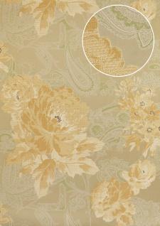 Blumen Tapete Atlas TEM-9015-3 Vliestapete strukturiert mit Paisley Muster schimmernd beige pastell-orange weiß blass-grün 7, 035 m2