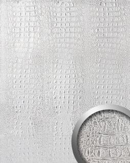 Wandpaneel 3D WallFace 13520 CROCO Design Platte Struktur Blickfang Dekor selbstklebende Tapete silber grau | 2, 60 qm
