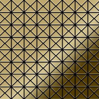 Mosaik Fliese massiv Metall Titan hochglänzend in gold 1, 6mm stark ALLOY Deco-Ti-GM 1 m2