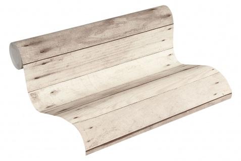 Holz Tapete Profhome 368702-GU Vliestapete glatt in Holzoptik matt grau weiß beige 5, 33 m2 - Vorschau 2