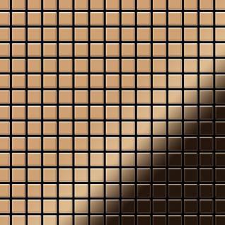 Mosaik Fliese massiv Metall Titan hochglänzend in kupfer 1, 6mm stark ALLOY Mosaic-Ti-AM 1, 04 m2