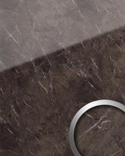 Wandpaneel Marmor Optik WallFace 19342 MARBLE BROWN Wandverkleidung glatt in Naturstein Optik glänzend selbstklebend abriebfest braun grau 2, 6 m2