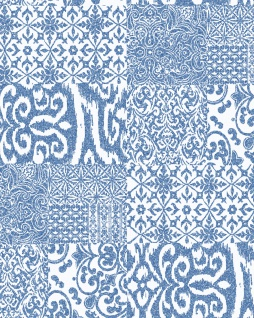 Barock Tapete Profhome VD219149-DI heißgeprägte Vliestapete geprägt im Barock-Stil glänzend blau weiß 5, 33 m2