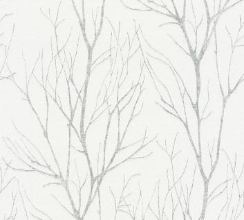 Natur Tapete Profhome 372602-GU Vliestapete leicht strukturiert mit floralen Ornamenten matt weiß grau 5, 33 m2