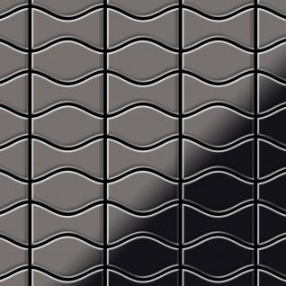Mosaik Fliese massiv Metall Titan hochglänzend in dunkelgrau 1, 6mm stark ALLOY Kismet & Karma-Ti-SM Designed by Karim Rashid 0, 86 m2