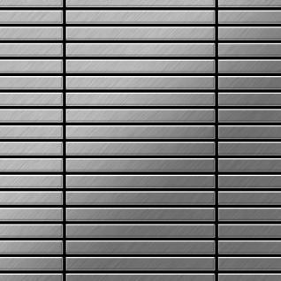 Mosaik Fliese massiv Metall Edelstahl gebürstet in grau 1, 6mm stark ALLOY Linear-S-S-B 0, 94 m2