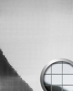 Wandverkleidung Wandpaneel WallFace 10639 M-Style Design Paneel Metall Mosaik Fliesen selbstklebend spiegelnd silber 0, 96 qm