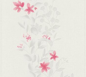 Blumen Tapete Profhome 372664-GU Vliestapete leicht strukturiert mit floralen Ornamenten matt grau rot 5, 33 m2