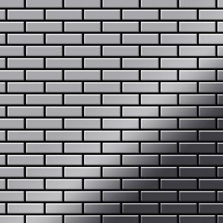 Mosaik Fliese massiv Metall Edelstahl hochglänzend in grau 1, 6mm stark ALLOY PK-S-S-M 0, 88 m2